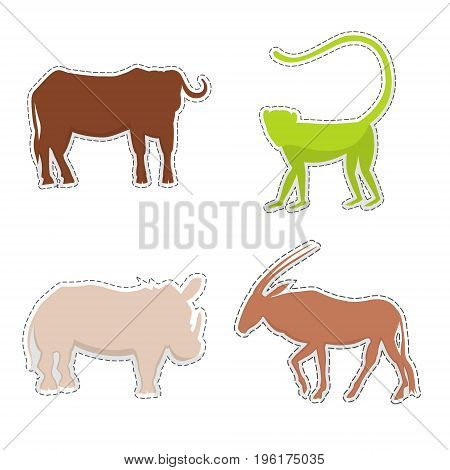 African Buffalo, Rhinoceros, Oryx, Monkey  Silhouettes Made as Stickers or Air Fresheners for Car. Vector EPS 10