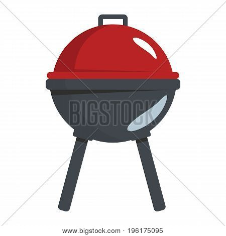 BBQ grill in cartoon flat style isolated on white background barbeque object for summer party barbeque design and web