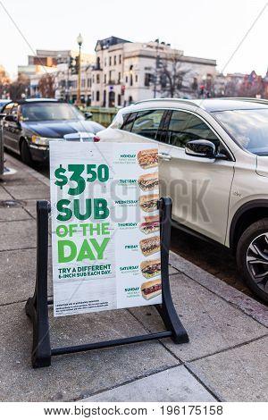 Washington DC USA - February 5 2017: Subway fast food restaurant sub of the day sign on Dupont circle
