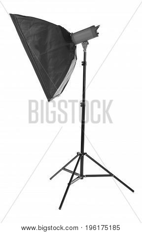 Studio lamps, isolated on the white background. Black stripsoft box. Proffesional photo studio equipment. Flash with soft-box. Studio lighting.  Outbreak.