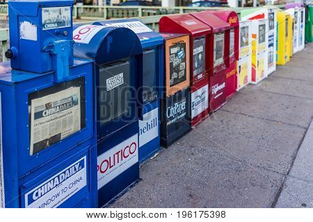 Washington DC USA - February 5 2017: Newspaper kiosks vending machines on Dupont Circle