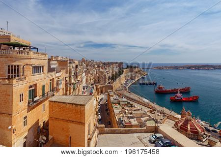 Seaport in the harbor of the city Valletta. Malta.