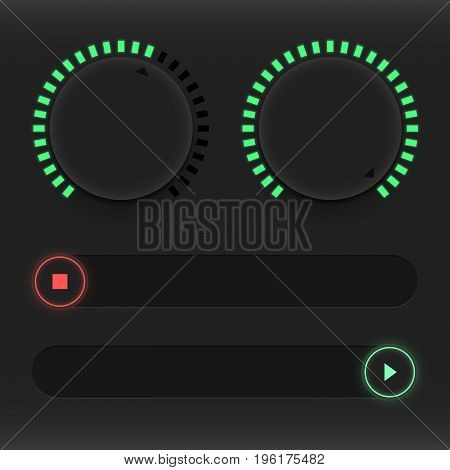 Set of buttons and sliders. Luminous neon control user interface. Sound management. Red and green sliders on and off. Vector illustration