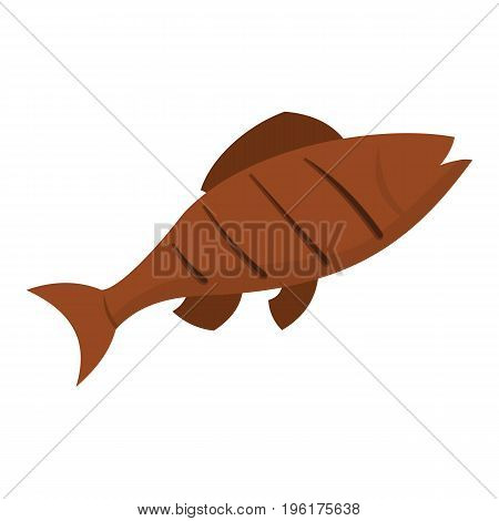 Barbeque grill fish icon. Cartoon grill fish in cartoon flat style vector illustration isolated on white background for web