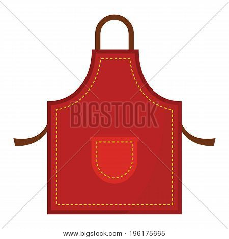 Red kitchen apron icon vector iilustration isolated on white background. Cartoon flat apron for design and web