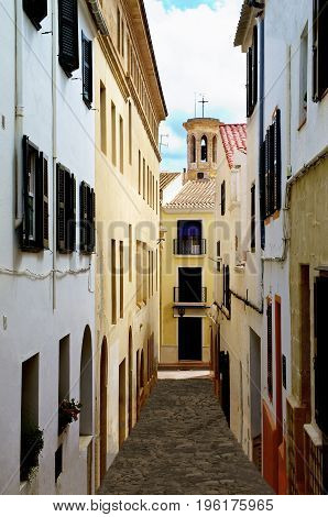 Old Narrow Street with Colorful Houses in Mahon Menorca Balearic Islands Spain