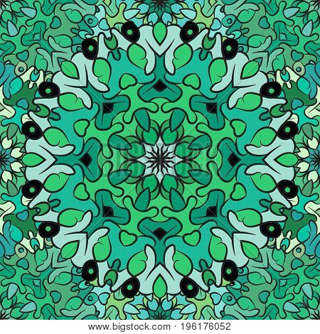 Seamless pattern in oriental style, green-colored wrapping-paper with flowery mandalas ornament. Turkish, arabic, indian, chinese, mexican style wallpaper. Textile, print design.