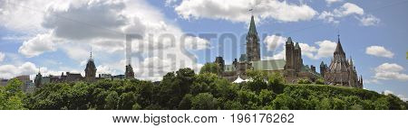 Parliament Buildings and Library panorama, Ottawa, Ontario, Canada.