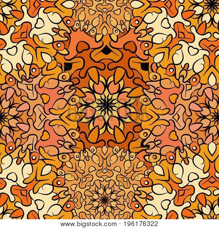 Seamless orange artistic pattern. Ornament for decoration, print for cloth, wallpaper or wrapper. Ethnic oriental or african exotic style.