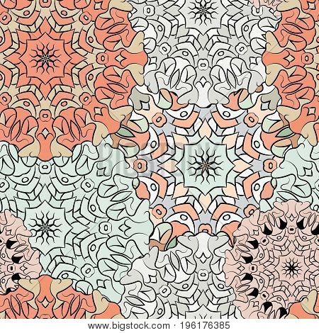 Seamless exotic pattern. Ornament for decoration, decoupage, print for cloth, wallpaper or wrapper. Ethnic oriental or african exotic style