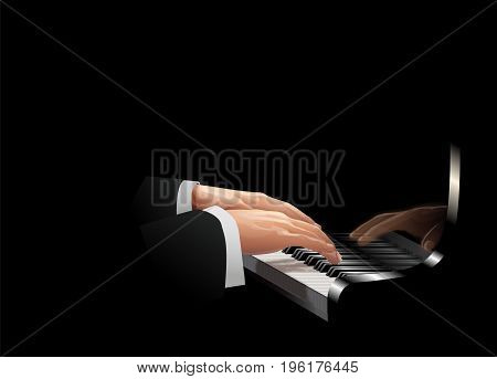 Close-up of the hands of a musician playing piano on a black background. Vector image.
