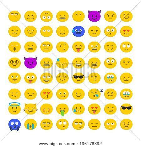 Set of cute smiley emoticons, emoji flat design isolated on white background, vector illustration. Faces, smiles, avatars