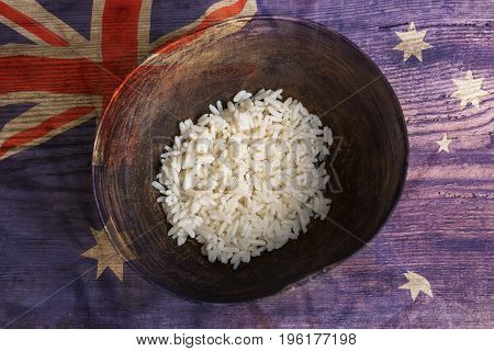 Poverty Concept, Bowl Of Rice With Australia Flag