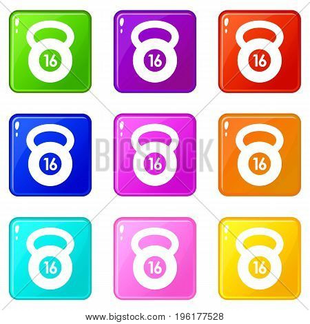 Kettlebell icons of 9 color set isolated vector illustration