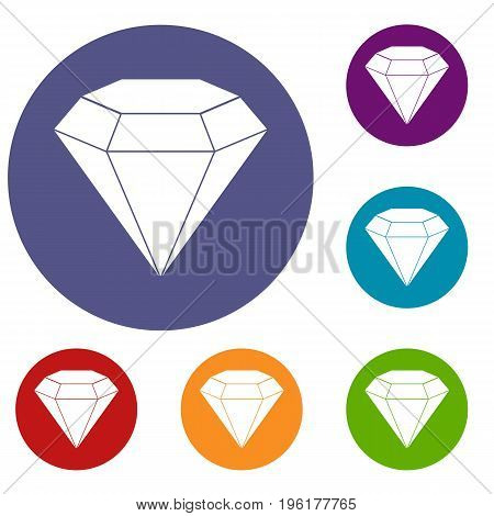 Brilliant gemstone icons set in flat circle red, blue and green color for web