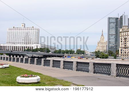 Russia, Moscow - June 30, 2017: View Across The River To The Government House Of The Russian Federat