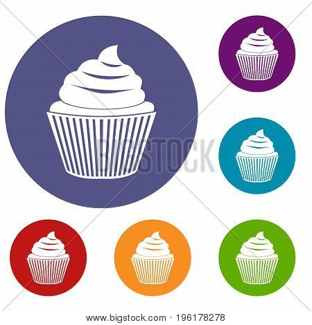 Cupcake icons set in flat circle red, blue and green color for web