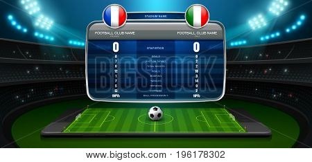 mobile football stadium and spotlight vector illustration