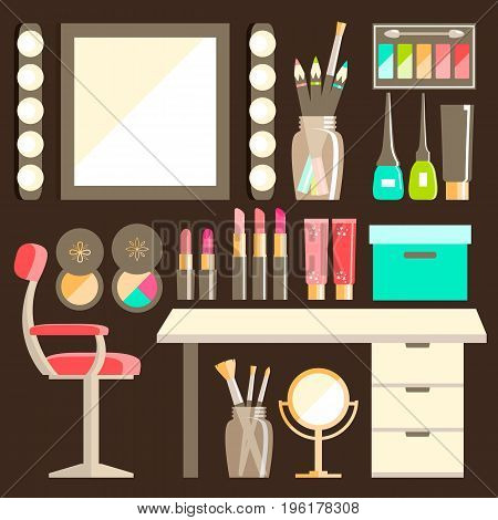 Vector flat Makeup worker's workplace set. Mirror, decorative cosmetic, lamps. Isolated. Furniture and equipment. Modern design.