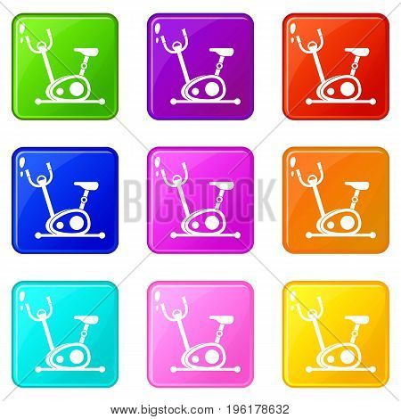 Exercise bike icons of 9 color set isolated vector illustration