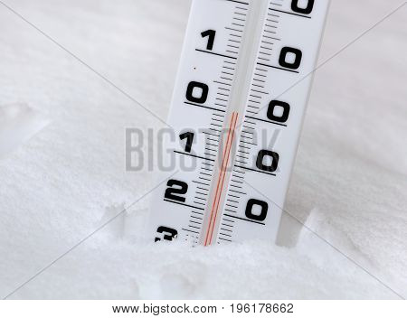 thermometer in the snow showing zero degree