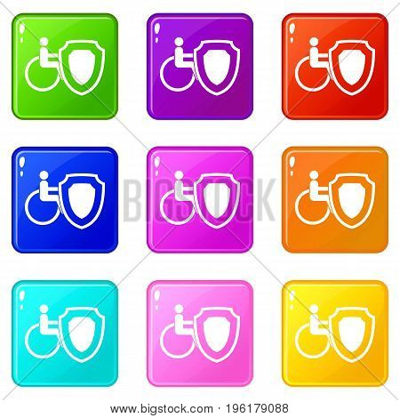 Wheelchair and safety shield icons of 9 color set isolated vector illustration
