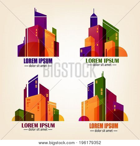Set of city logos in flat design. Vector colourful buildings icons isolated on background. Simple silhouette of skyscrapers, business concept used for brand or web creation.
