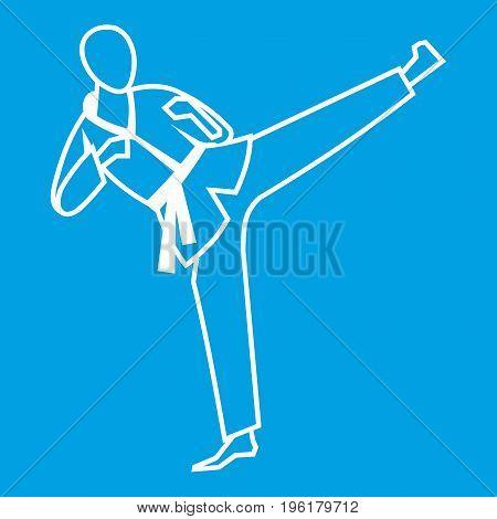 Wushu master icon white isolated on blue background vector illustration