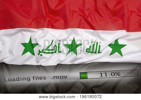 Downloading Files On A Computer, Iraq Flag