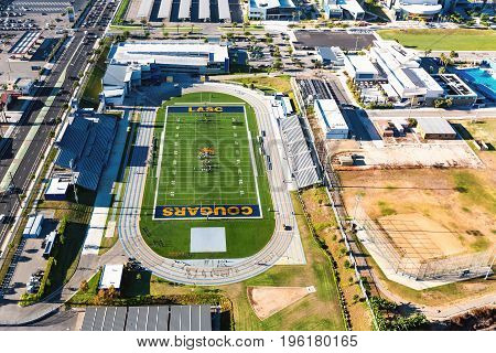 The Los Angeles Southwest College Football Stadium Is Seen From The Air