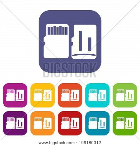 Both sides of SD memory card icons set vector illustration in flat style in colors red, blue, green, and other