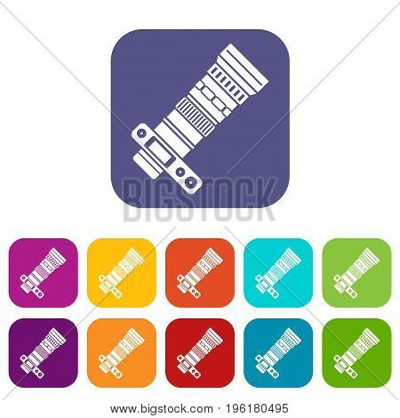 Dslr camera with zoom lens icons set vector illustration in flat style in colors red, blue, green, and other