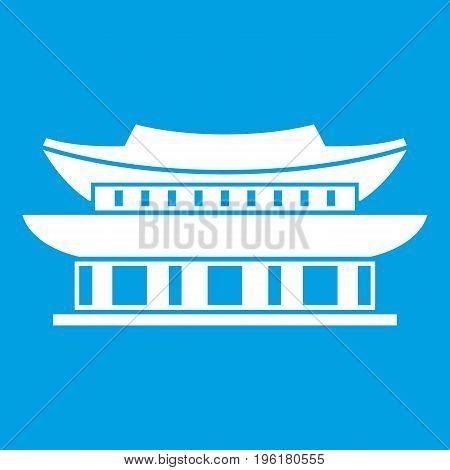 Gyeongbokgung palace, symbol of Seoul icon white isolated on blue background vector illustration