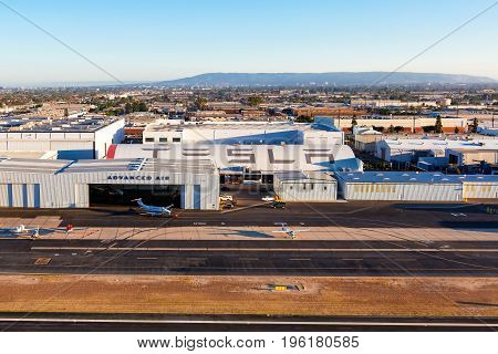 HAWTHRONE CA - August 16th 2016: The Tesla Inc Design Center which borders the Hawthorne Airport is viewed from the air near Los Angeles California.