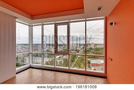 big glass window in the modern building.