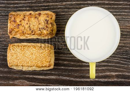 Shortbreads With Nuts And Sesame And Cup Of Milk