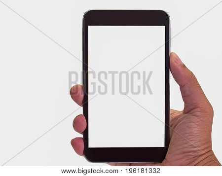 (Close up) smartphone with empty screen held by men.(with free space for text)