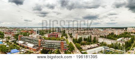 Spectacular aerial panorama of city made from the top floor building