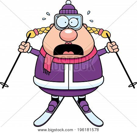 Scared Cartoon Skier