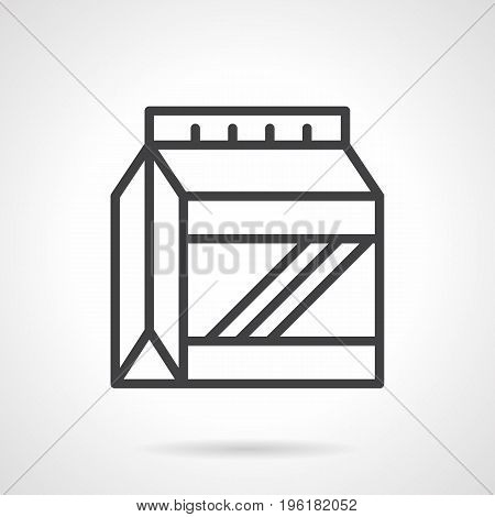 Abstract symbol of protein powder pack. Sport nutrition and supplements concept. Black simple line design vector icon.