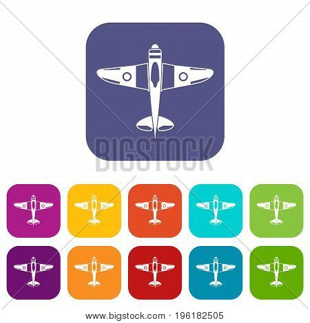 Military fighter plane icons set vector illustration in flat style in colors red, blue, green, and other