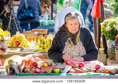 Old lady sales apples and flowers at the market place. Street, social, documentary. November - 18. 2016. Editorial image.