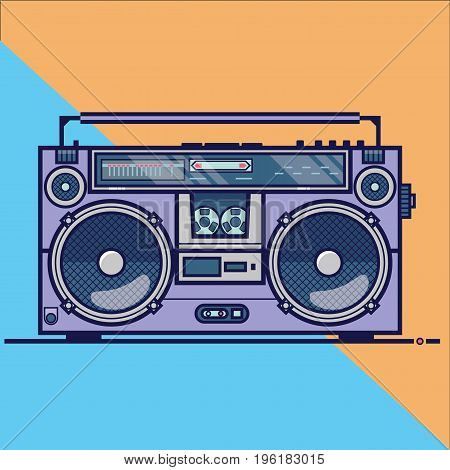 Line flat vector icon with retro electrical audio device boombox. Music vector illustration