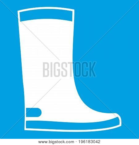 Rubber boots icon white isolated on blue background vector illustration