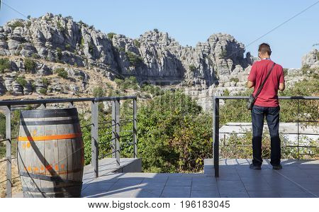 Antequera Spain - July 14 2017: visitor close to Interpretive Centre at Torcal Natural Park Malaga Spain