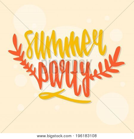 Modern calligraphic poster design with flat palm trees on bright colorful watercolor splash background. Vivid, cheerful, optimistic summer flyer, poster or fabric print in vector