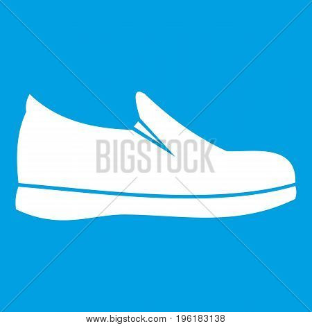 Shoes icon white isolated on blue background vector illustration