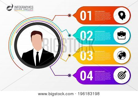 Circle infographics. Template for diagram graph presentation and chart. Vector illustration with 4 steps