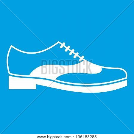 Men shoe with lace icon white isolated on blue background vector illustration