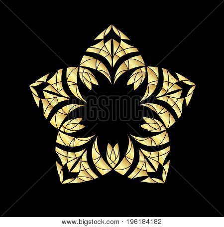 Abstract ornament. Gold ornament isolated on black background.